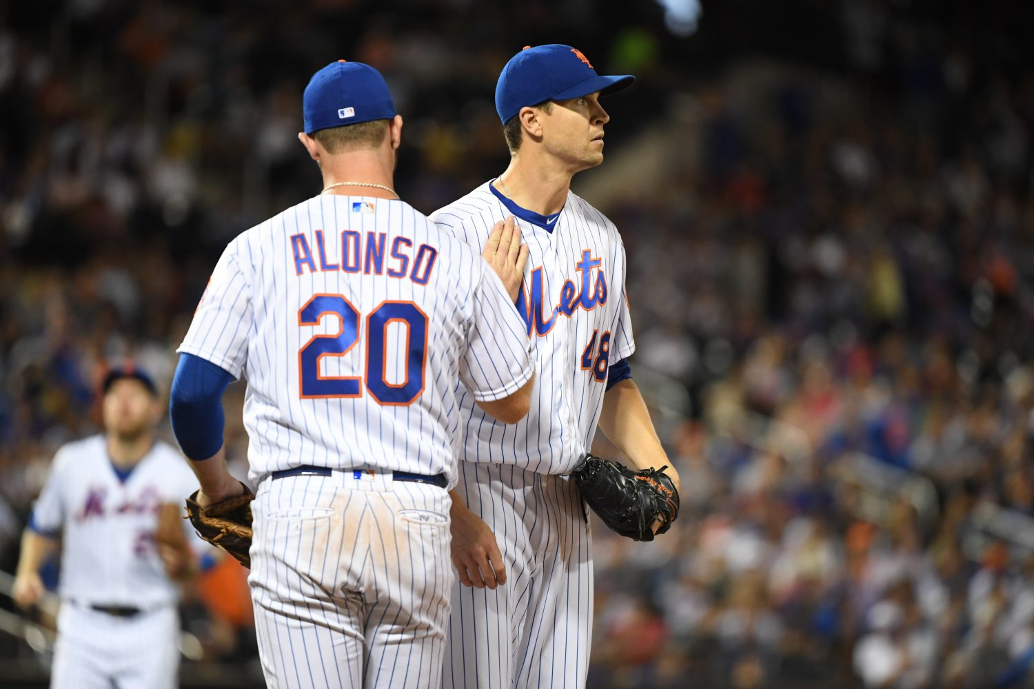 Jacob deGrom and Pete Alonso On the Field