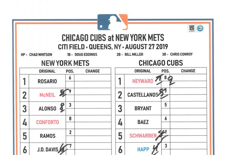 Lineup Card from Chicago Cubs vs. Mets on August 27, 2019