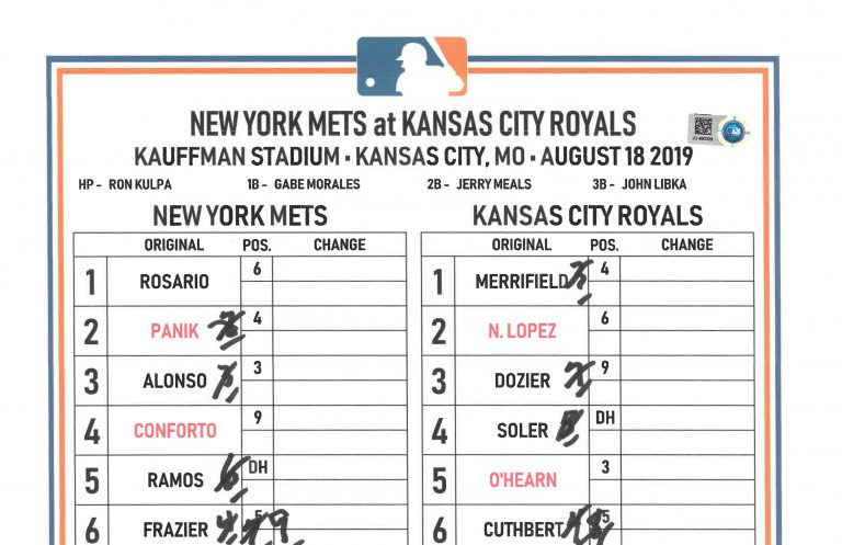 Lineup Card for Pete Alonso NL Rookie Home Run Record