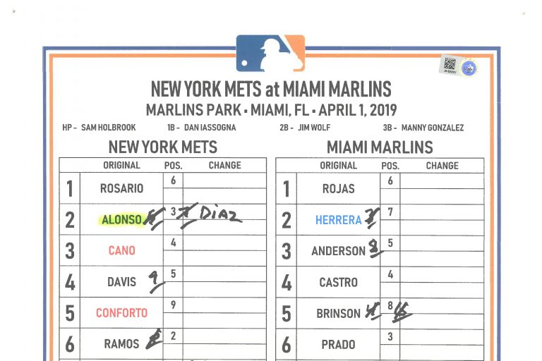 Lineup Card for Pete Alonso's First Home Run