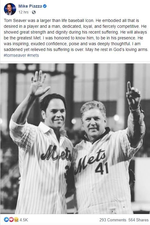 Mike Piazza's Tribute to Tom Seaver on Facebook