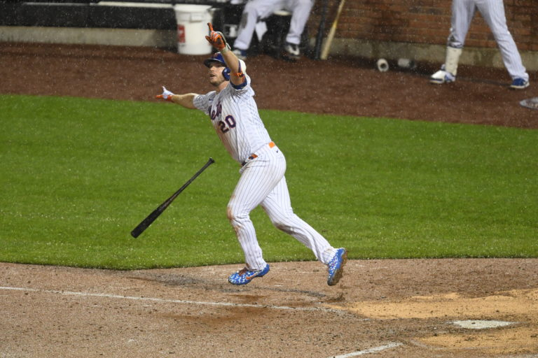 Pete Alonso Throws Hands Up After Hitting Game Winner