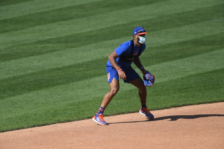Amed Rosario Plays Wearing a Mask During COVID-19 Pandemic