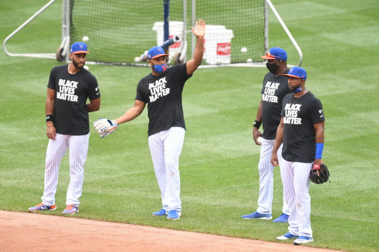 Four Mets Players Wearing Black Lives Matter T-Shirts on the Field