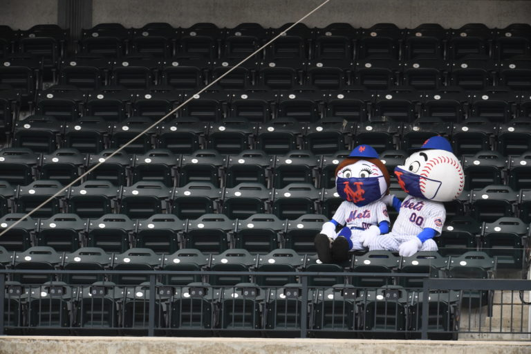 Mr. & Mrs. Met Sit Alone in Stands During COVID