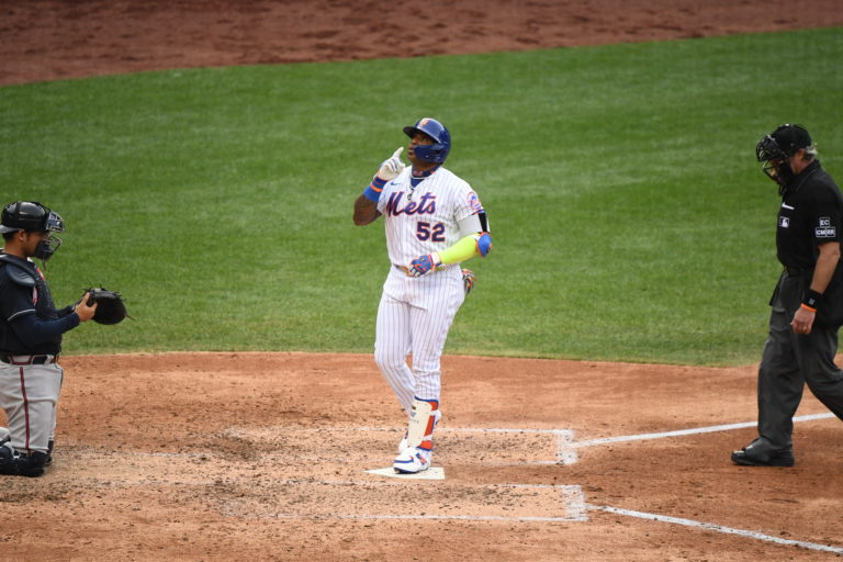 Yoenis Cespedes Crosses Home Plate After His Home Run