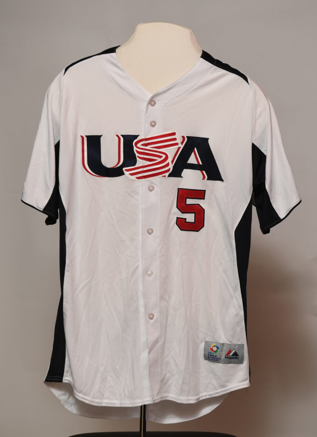 From of white jersey that reads