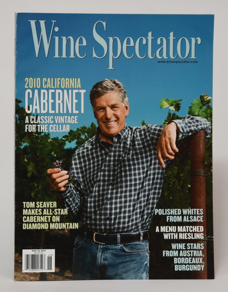 Cover of Wine Spectator magazine with Tom Seaver smiling while holding a vine
