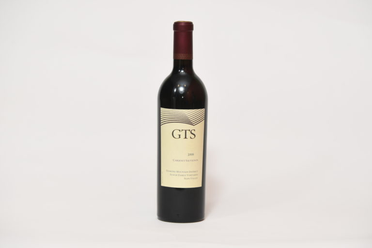 Front of wine bottle with label that reads,